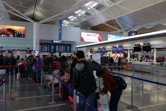セントレア中国東方航空のチェックインカウンター