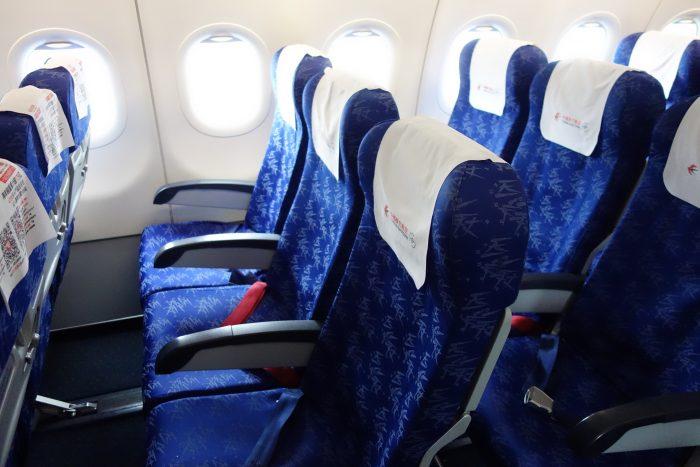 中国東方航空のエアバスA320の座席の広さ