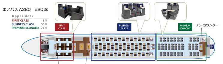 ANAエアバスA380のシートマップ