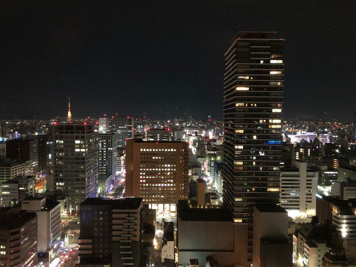 ヒルトン名古屋プレミアムエグゼクティブキングルーム27階2709号室からの夜景