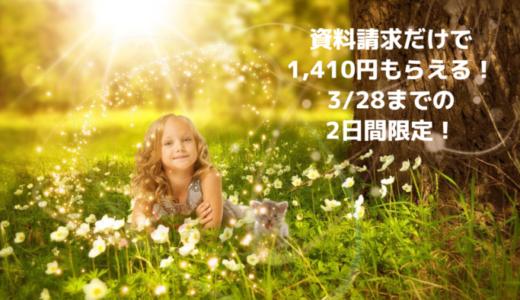 【急げ!】資料請求だけで1,410円のお手軽案件は3/28までの2日間限定!