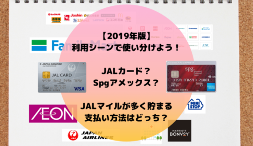 【2019年版】利用シーンで使い分け!JALカード?Spgアメックス?JALマイルがより多く貯まる支払い方法はどっち?