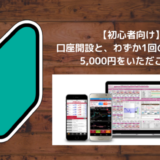 【初心者向け】口座開設と、わずか1回のFX取引で5,000円をいただこう!