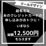 【朗報!】超定番でスタイリッシュなカード申込みで1万円超えは今なら総額12,500円もらえます。