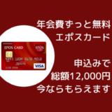 年会費ずっと無料、エポスカードで大量ポイント獲得!総額12,000円分もらえる。