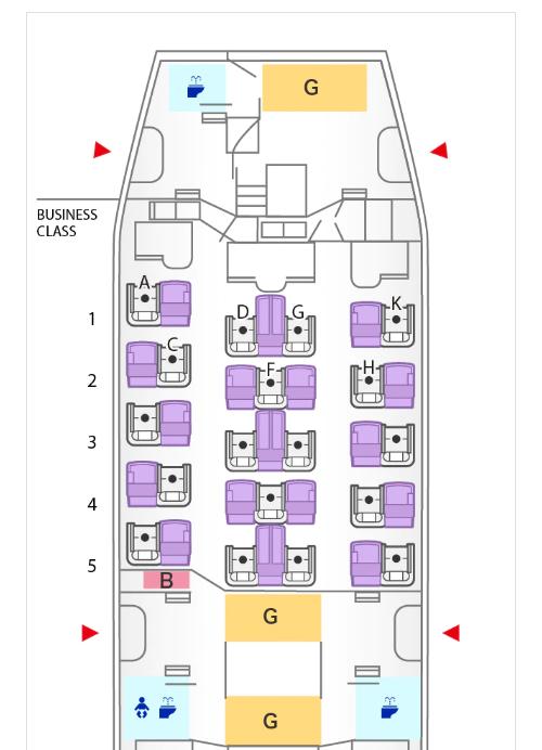 ANAボーイング787-8ビジネスクラスシートマップ